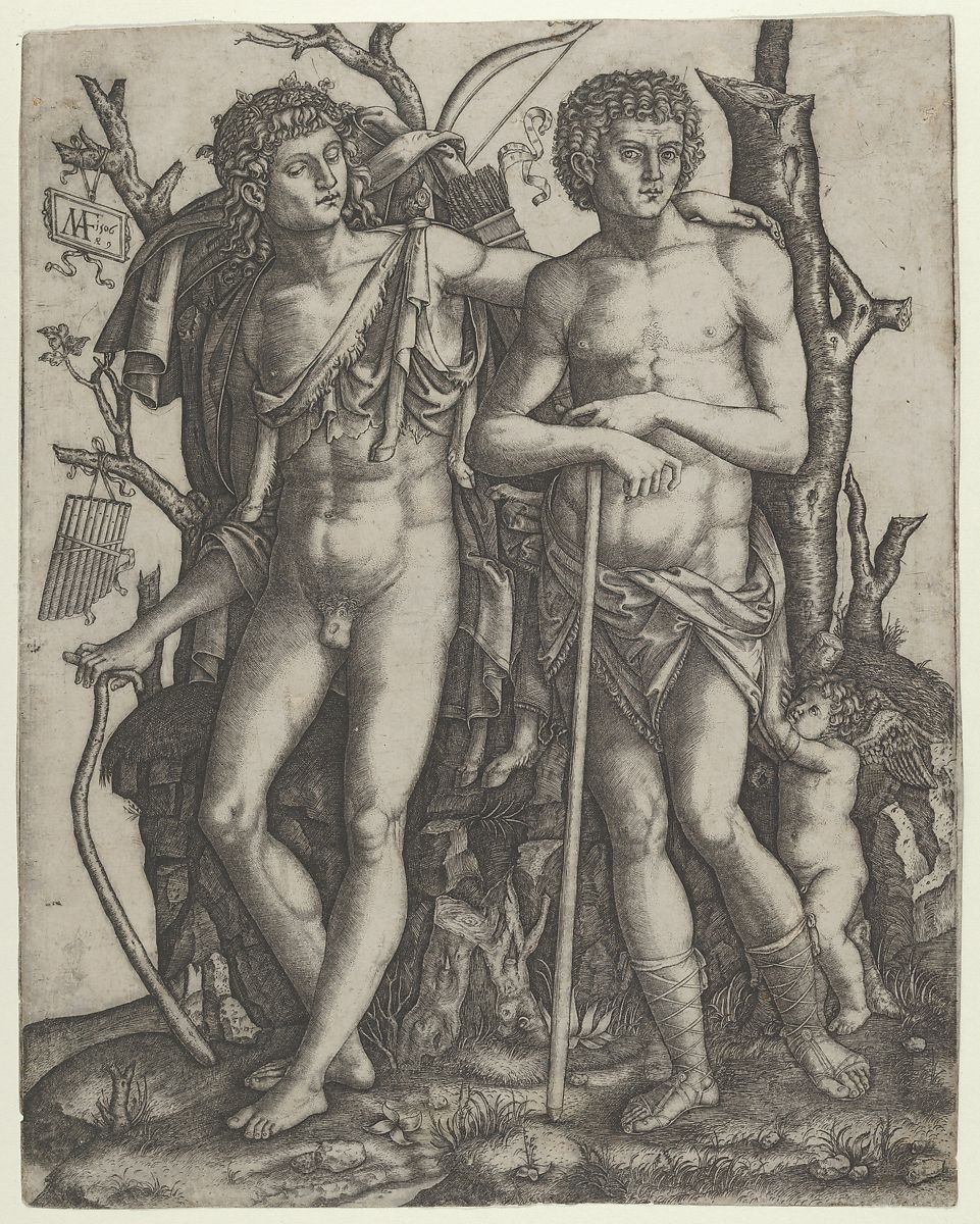 Marcantonio Raimondi | Apollo standing at the left, his hand resting on the shoulder of Hyacinthus, Cupid in the lower right | The Met