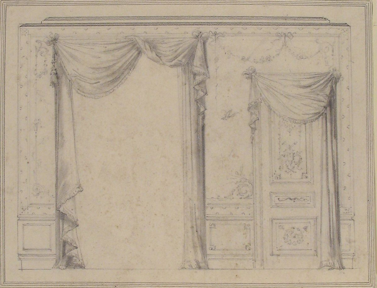 Design For Wall Treatment With Window And Door, Charles Monblond (French,  19th Century