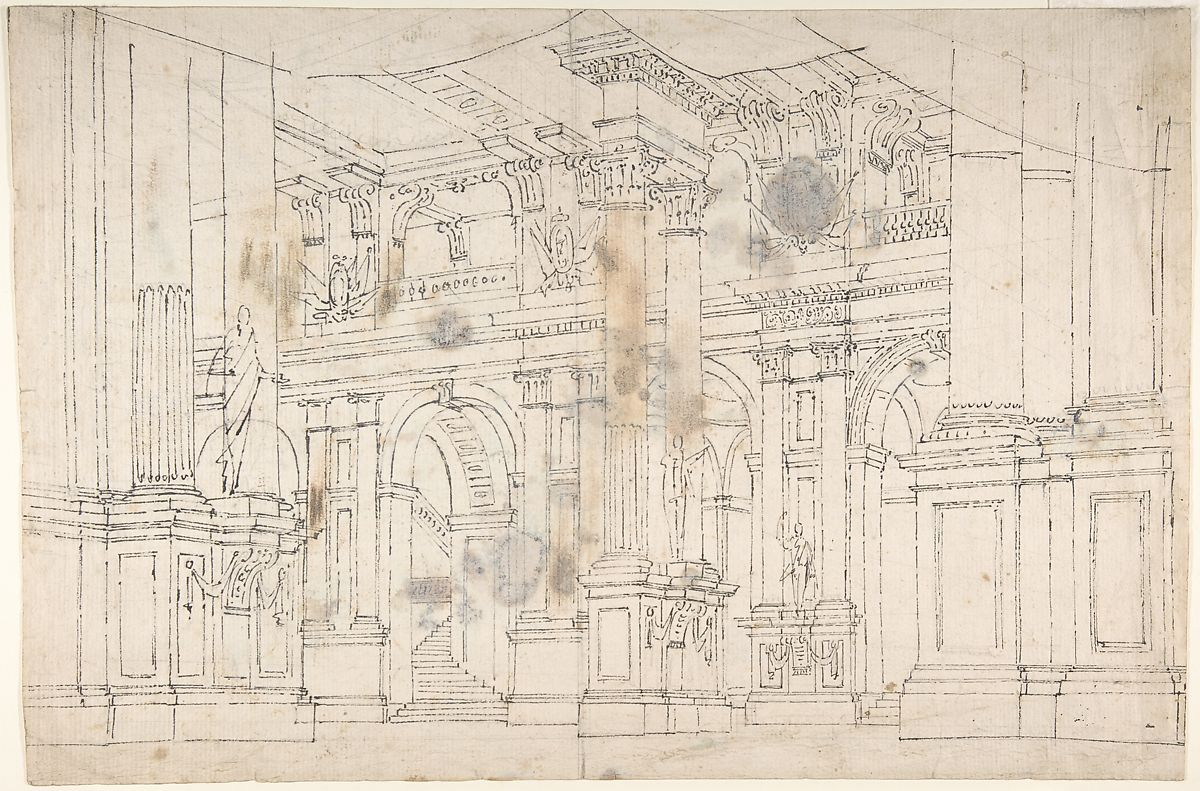 Outline Drawing Stage Set Design For A Performance Of Iphigenia Verso