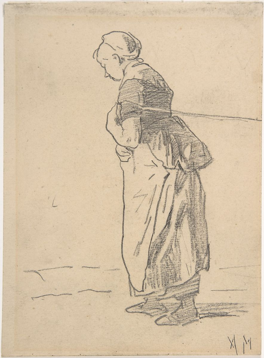 anton mauve woman pulling a tow rope verso sketch of landscape