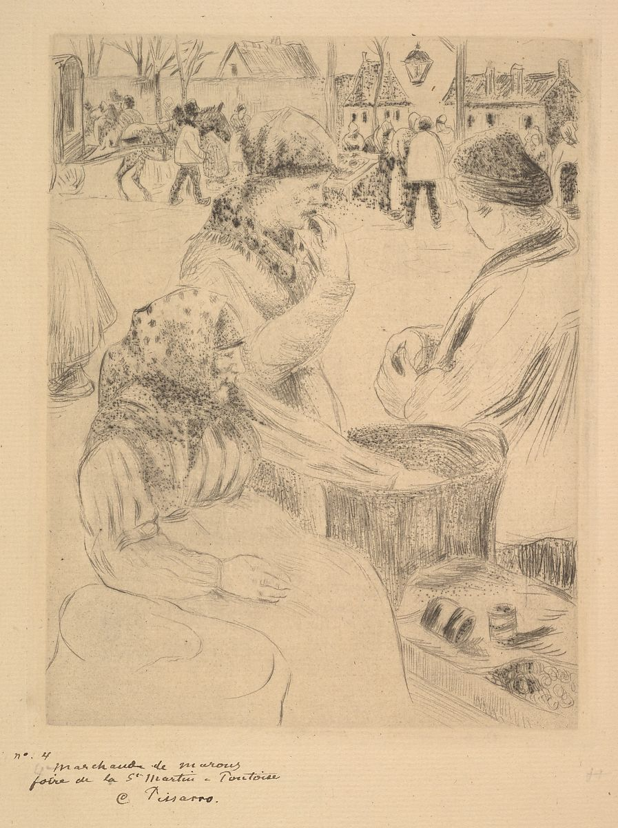 Camille Pissarro | Chestnut Vendor, St. Martin's Market, Pontoise | The Met