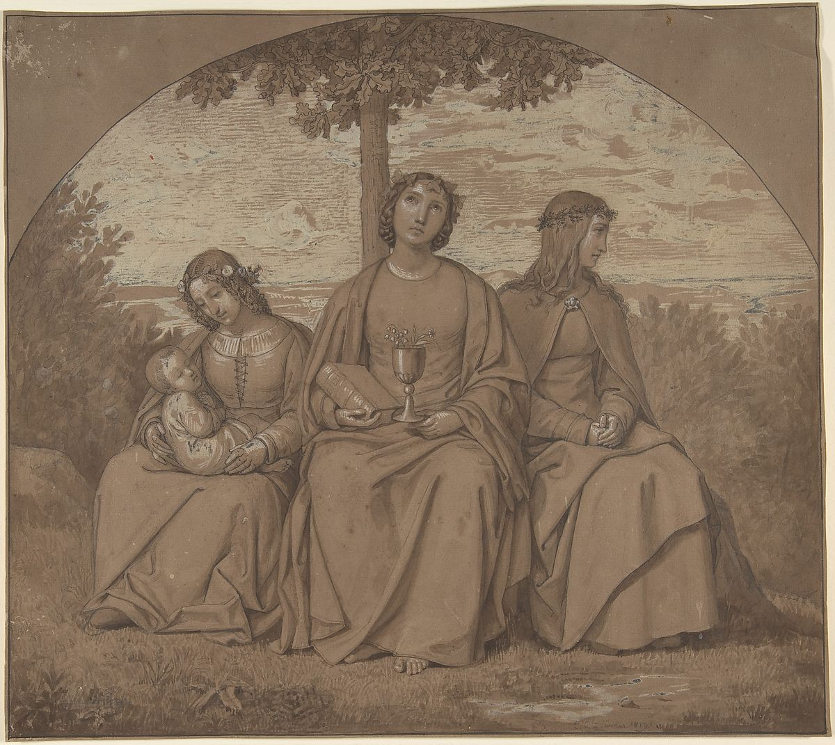 Allegories of Faith, Hope, and Charity, Heinrich Maria von Hess (German, Dusseldorf 1798–1863 Munich), Graphite, pen and brown ink, brush and brown wash heightened with white (partly oxidized), in an inscribed arch on brown paper