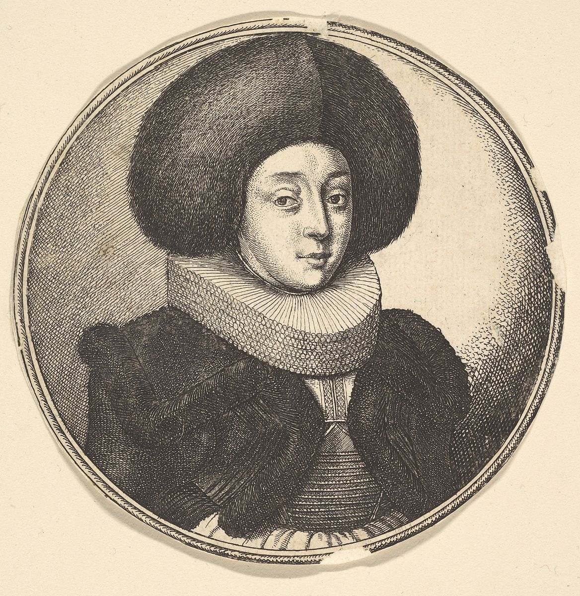 Wenceslaus Hollar | Woman with large circular fur hat and lace ruff | The Met