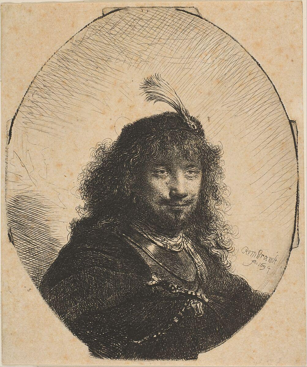 Image result for Rembrandt van Rijn (Dutch, 1606–1669). Rembrandt with Plumed Cap and Lowered Sabre, 1634