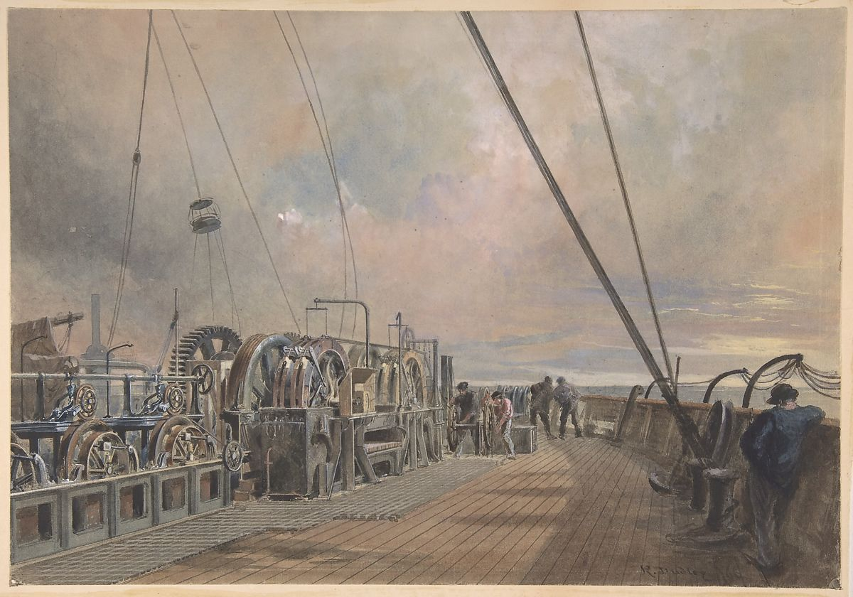 Deck of Great Eastern, Aft: the Paying-out Machinery, Robert Charles Dudley (British, 1826–1909), Watercolor over graphite with touches of gouache