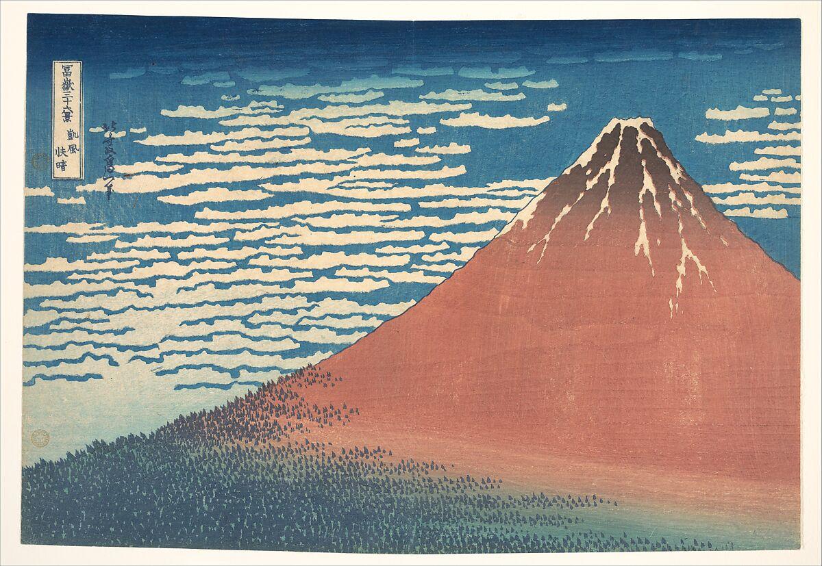 Katsushika Hokusai, South Wind, Clear Sky (Gaifū kaisei), also known as Red Fuji, 1830-32, The Metropolitan Museum of Art, New York, NY, USA. mount fuji
