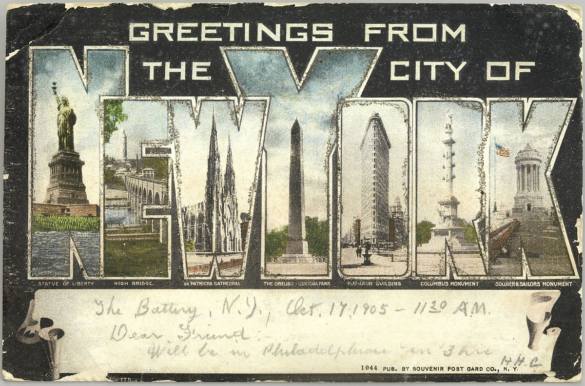 Souvenir Post Card Company Greetings From The City Of New York