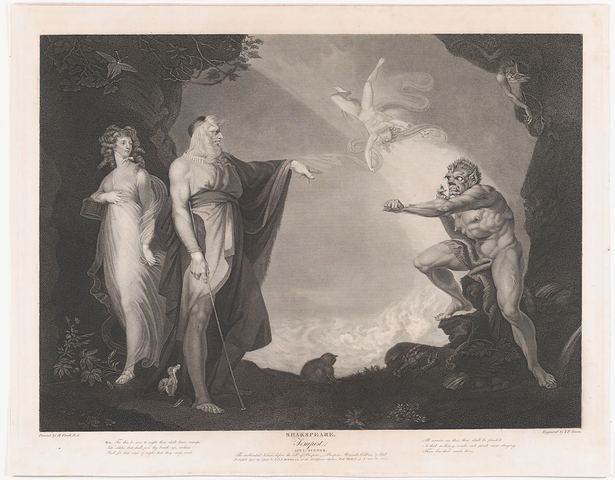 Peter Simon | The Enchanted Island Before the Cell of Prospero - Prospero, Miranda, Caliban and Ariel (Shakespeare, The Tempest, Act 1, Scene 2) | The Met