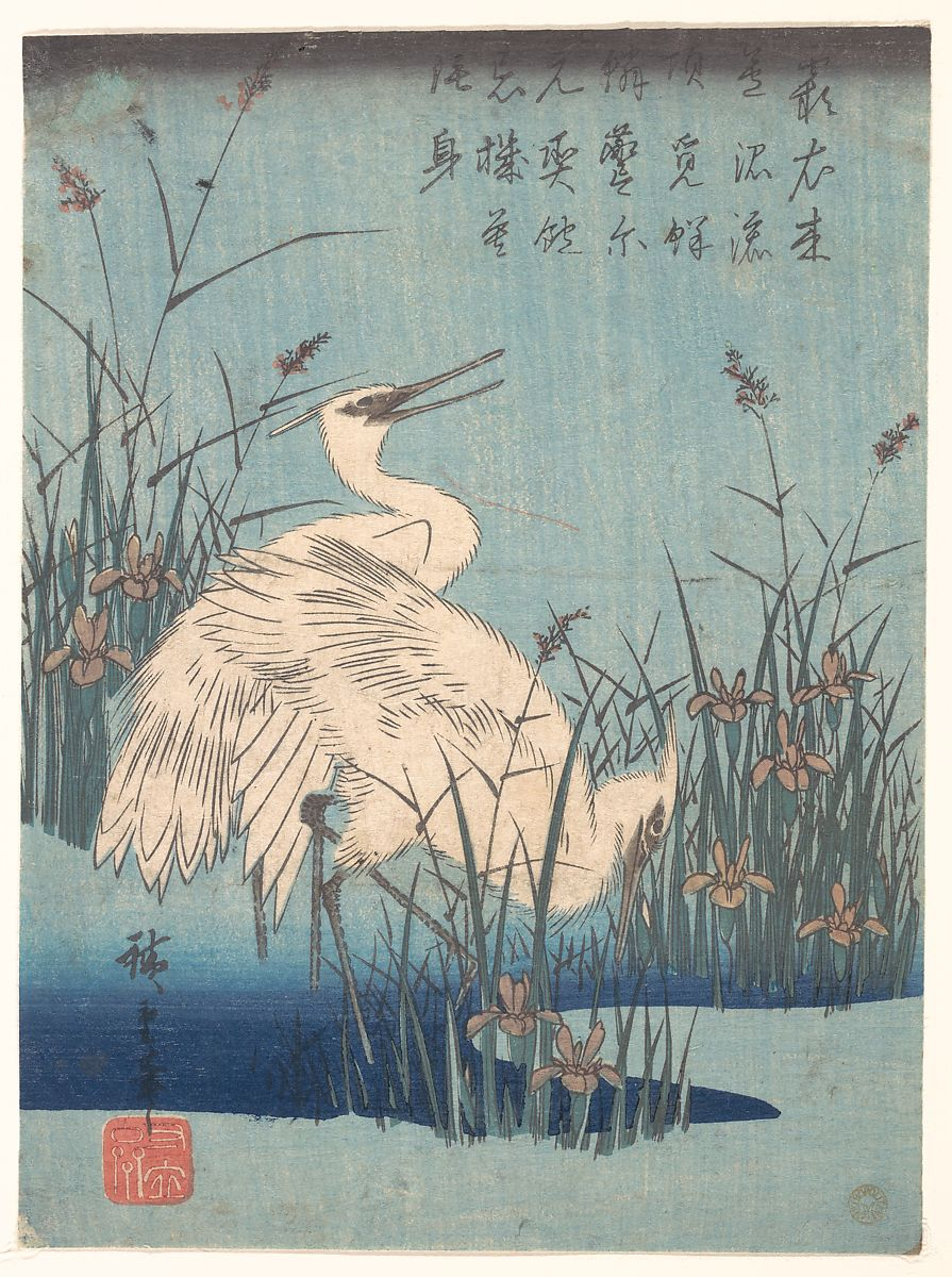 Egret in Iris and Grasses, 1837