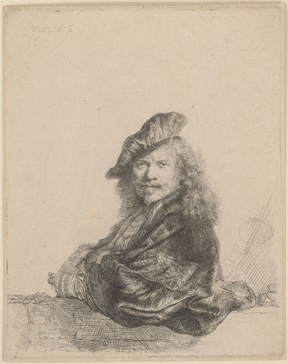 Rembrandt (Rembrandt van Rijn) | Self-Portrait Leaning on ...