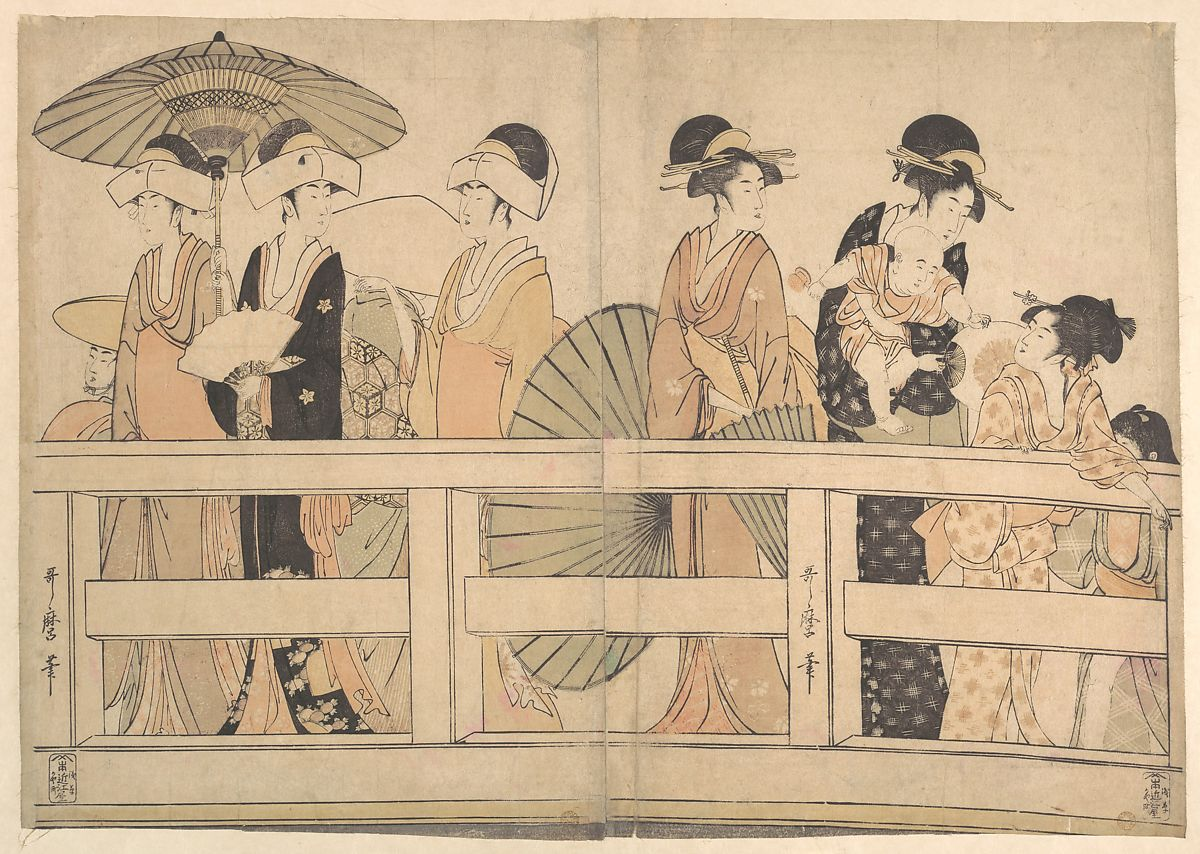 Kitagawa Utamaro | Enjoying the Cool Evening Breeze on and under the Bridge | Japan | Edo period (1615–1868) | The Met