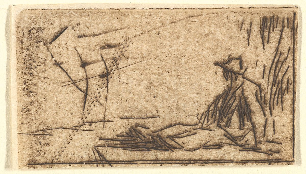 Peasant Seated on the Ground, Jean-François Millet (French, Gruchy 1814–1875 Barbizon), Etching on laid paper