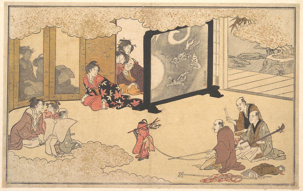 Seeing a Performance, Kitagawa Utamaro (Japanese, ca. 1754–1806), Polychrome woodblock print; ink and color on paper, Japan