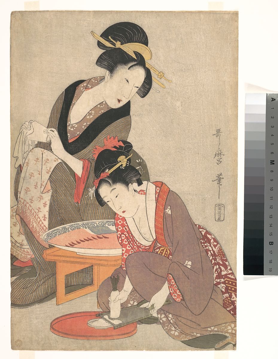 Kitagawa Utamaro | Women Preparing Sashimi | Japan | Edo period (1615–1868) | The Met