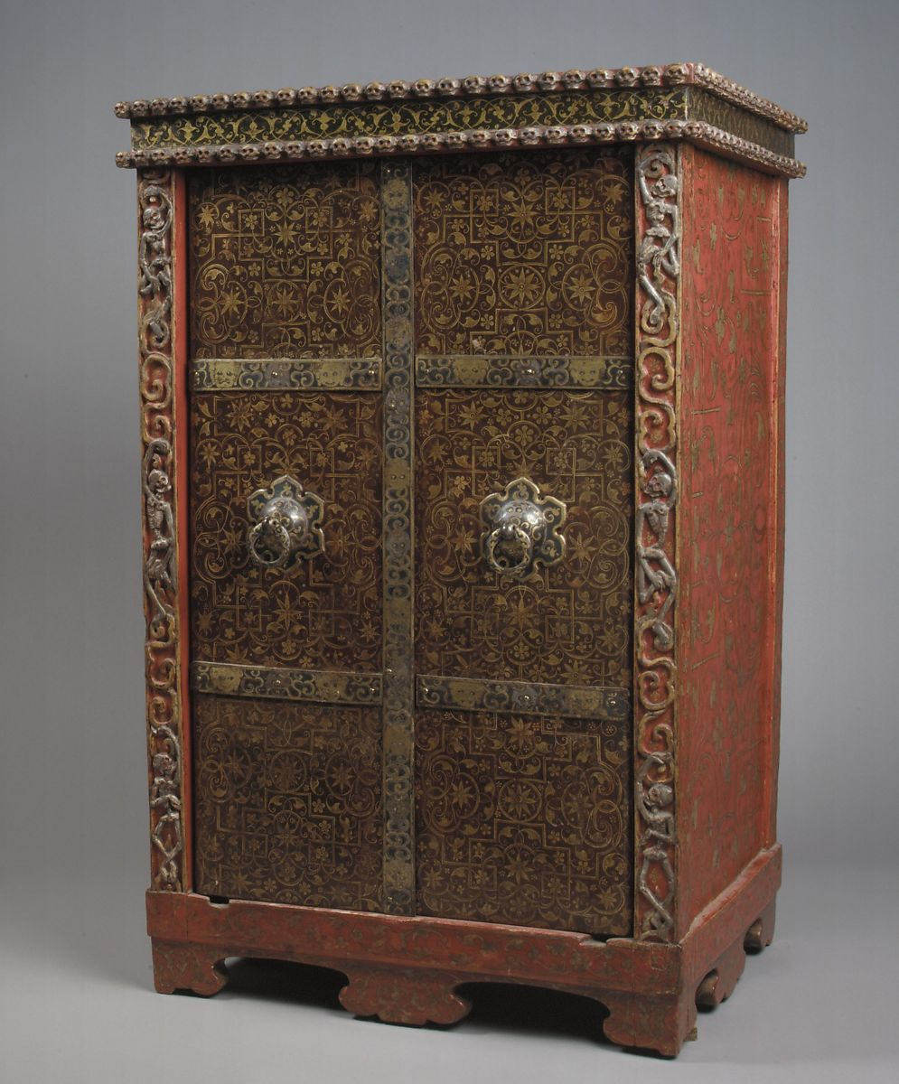 Cabinet for Ritual Utensils, Lacquer and gilding on wood, iron, Tibet