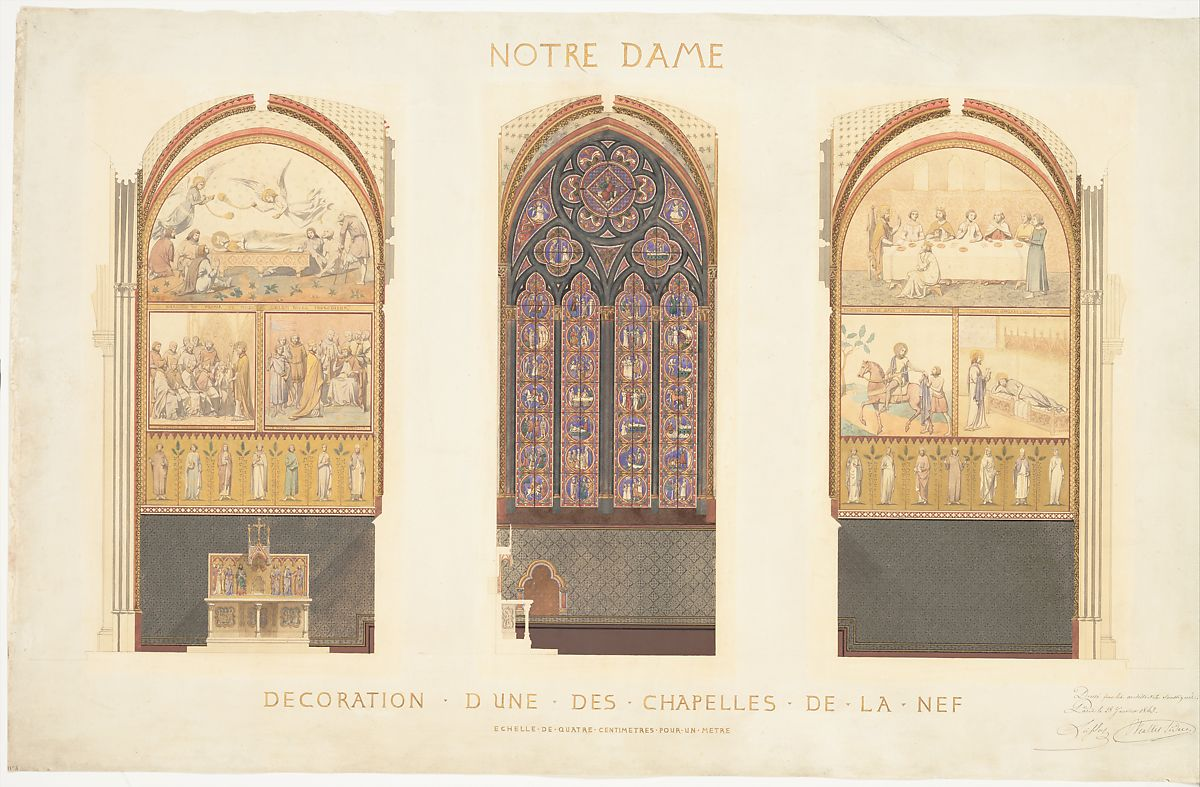 Eugène-Emmanuel Viollet-le-Duc | Plan for the Renovation of a Chapel in the Nave of the Cathedral of Notre Dame, Paris | The Met