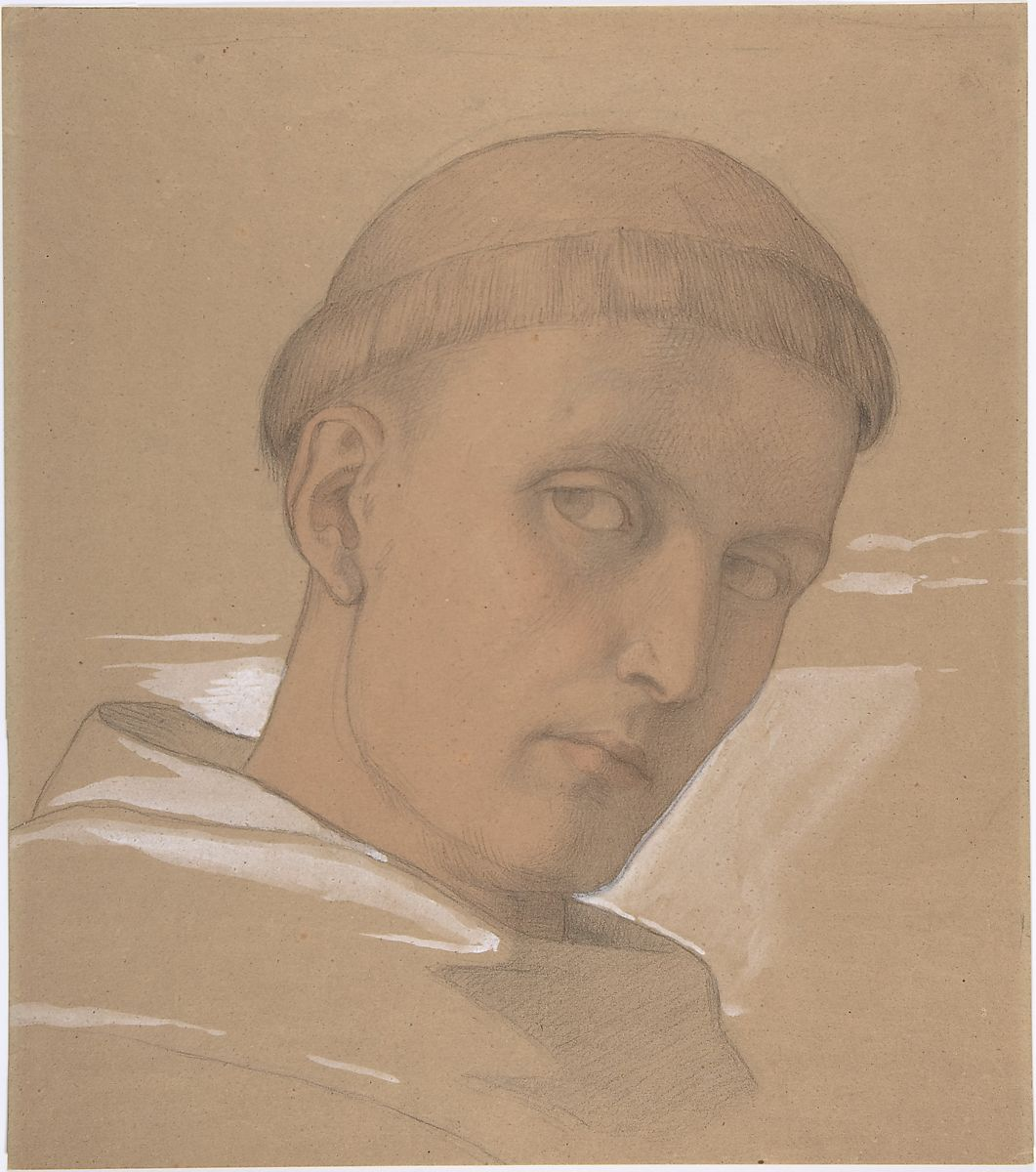 Study of the Head of St. Augustine, for the painting of the Madonna and Child with Saint Augustine and Bonifacius (1846), Eduard Jakob von Steinle (Austrian, Vienna 1810–1886 Frankfurt am Main), Graphite, pink wash, and white bodycolor