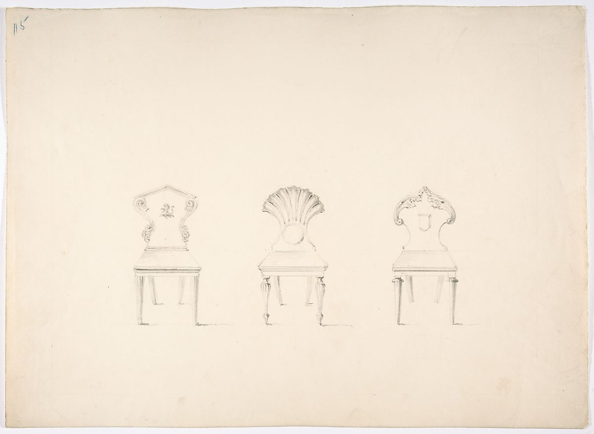 Anonymous, British, 19th century | Design for Three Chairs, Two with Armorial Ornament on Backs | The Met