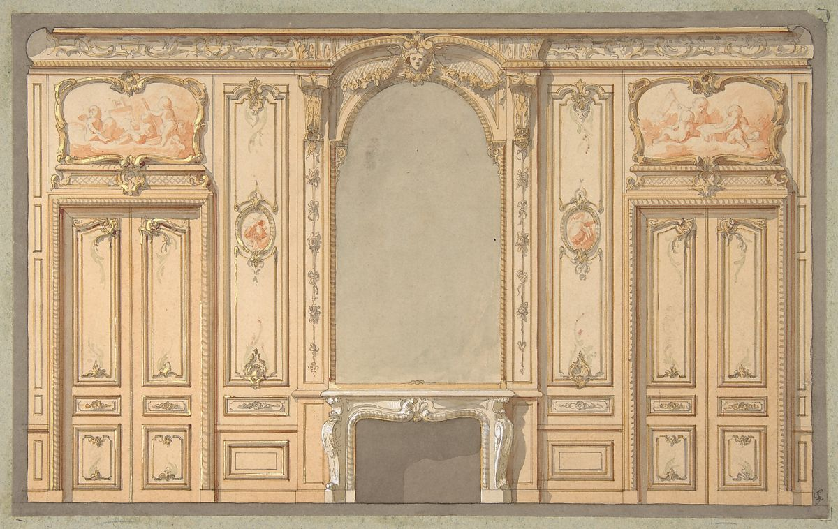 Jules-Edmond-Charles Lachaise | Design for wall panels, mirror, and ...