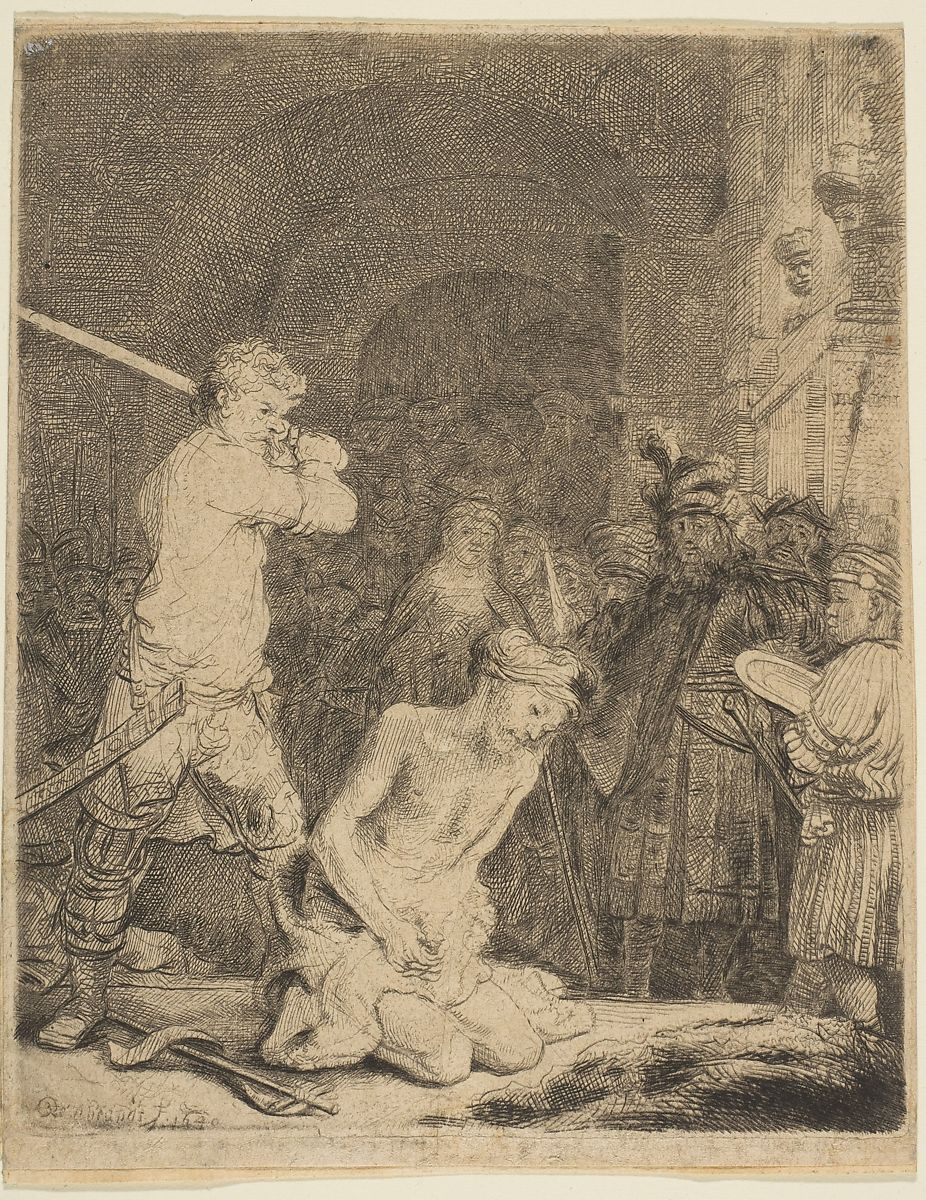 The Beheading of John the Baptist, Rembrandt (Rembrandt van Rijn) (Dutch, Leiden 1606–1669 Amsterdam), Etching and drypoint