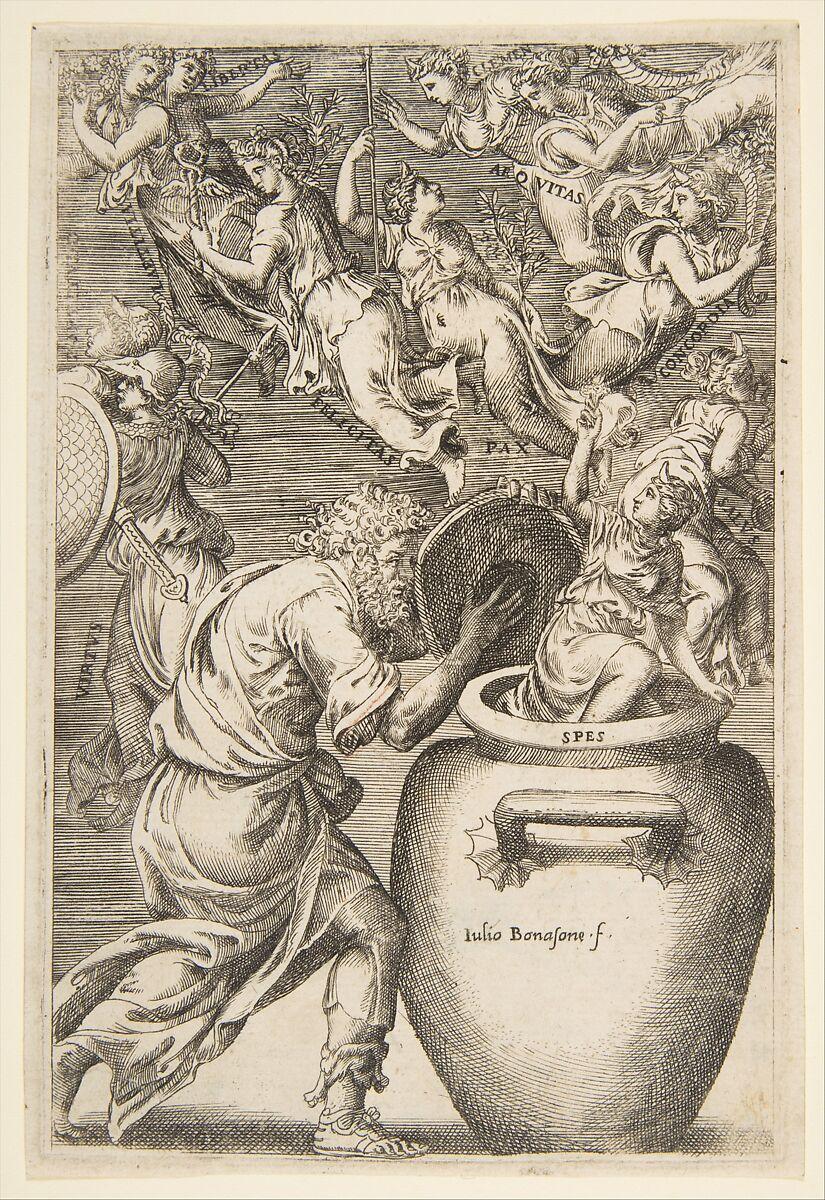 Giulio Bonasone | Epimetheus opening Pandora's box | The Met