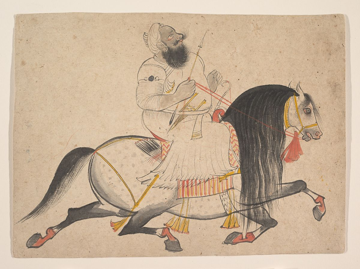 Miniature equestrian portrait by bagta showing man on horse.