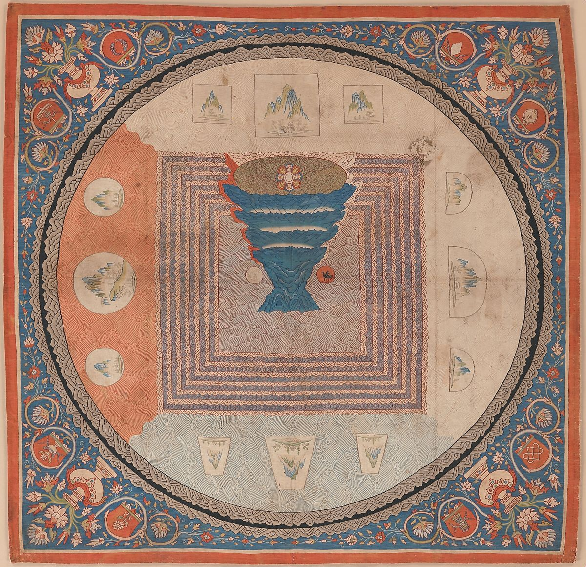 Cosmological Mandala with Mount Meru, Silk tapestry (kesi), China