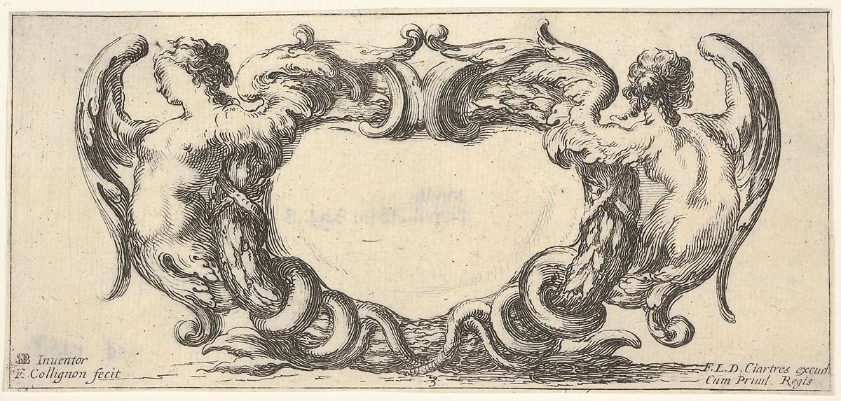 Plate 3: a cartouche with a woman with wings ending in a serpent's tail to left, seen from the front, a similar woman seen from the back to right, from 'Twelve cartouches' (Recueil de douze cartouches), François Collignon (French, Nancy ca. 1610–1687 Rome), Etching