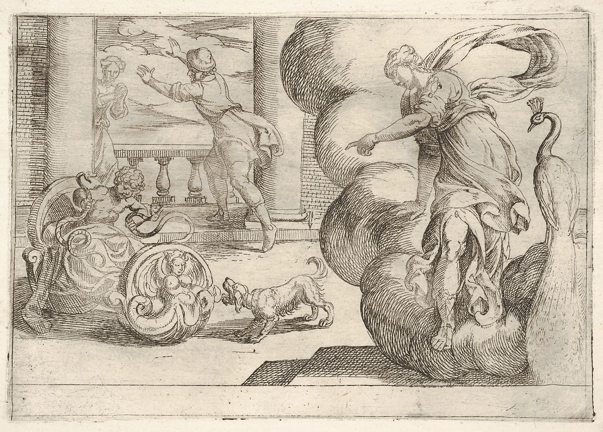 Antonio Tempesta | Hercules strangling the serpents: Hercules grasps two serpents in his crib, Juno points toward the serpents from a mass of cloud at right, from the series 'The Labors of Hercules' | The Met