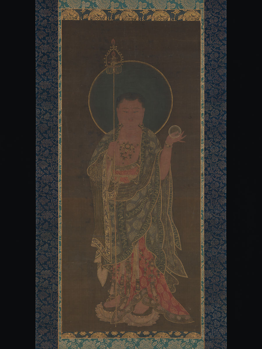 Kshitigarbha, Unidentified Artist, Hanging scroll; ink, color, and gold on silk, Korea