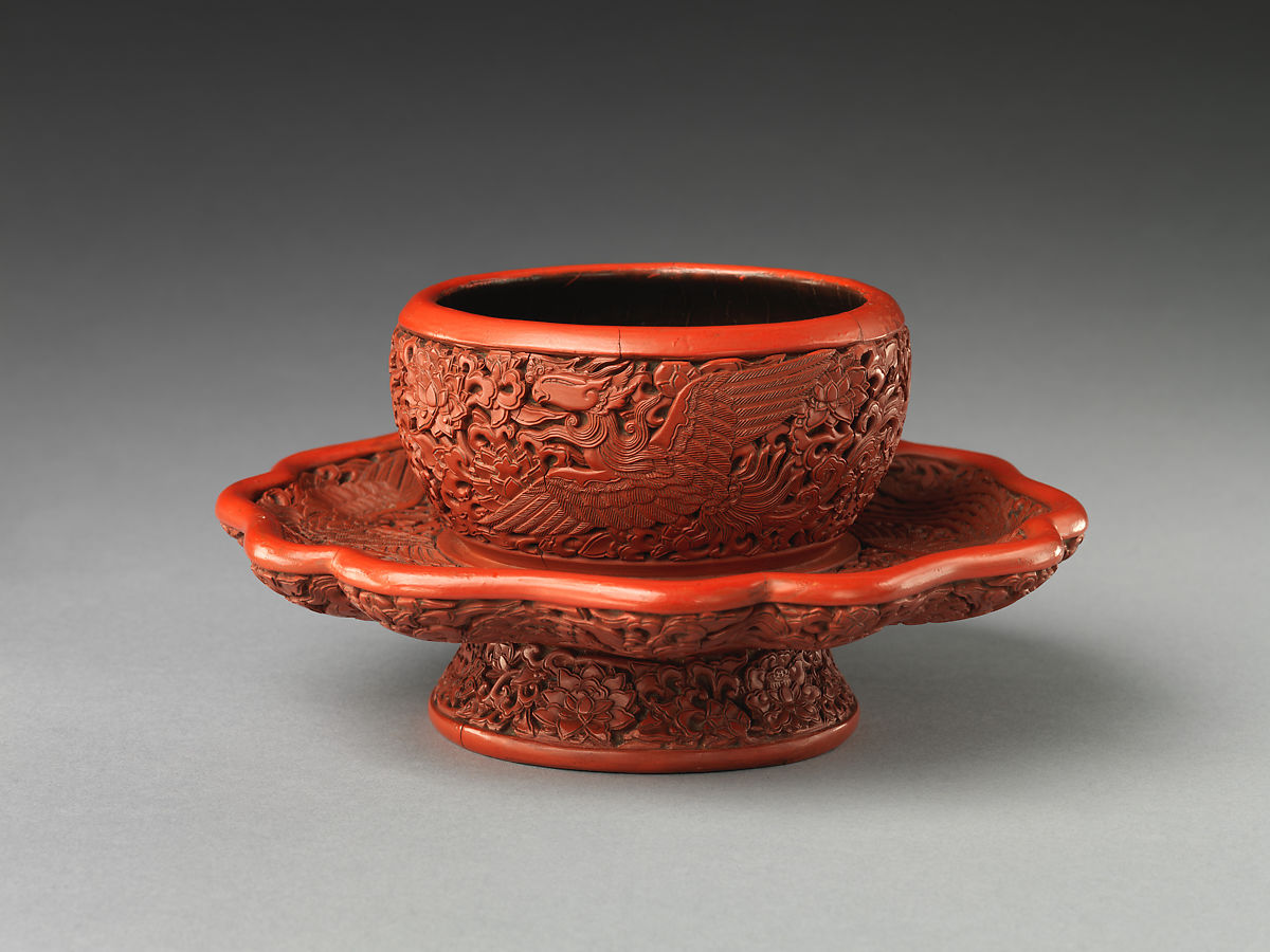 Tea-bowl stand with phoenixes amid flowers