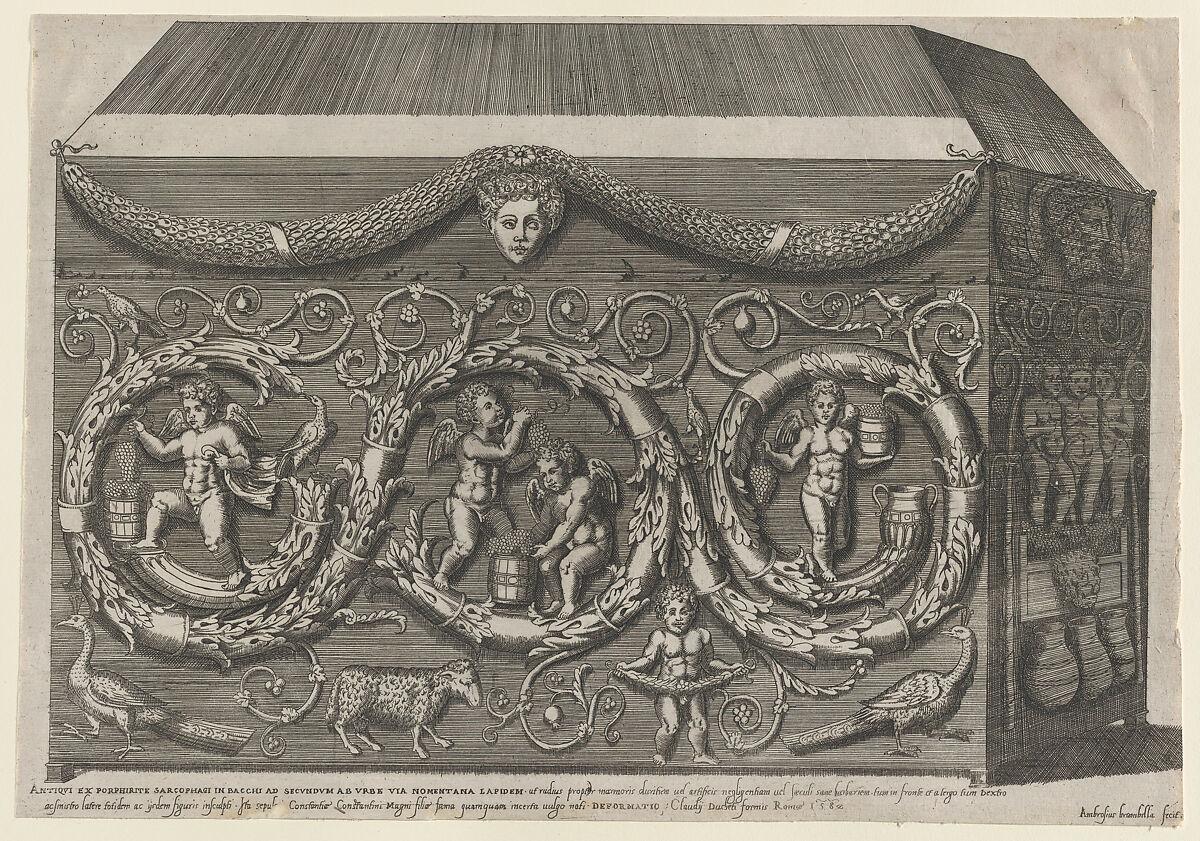 Giovanni Ambrogio Brambilla | Speculum Romanae Magnificentiae: Decorated Sarcohpagus with Arabesques | The Met