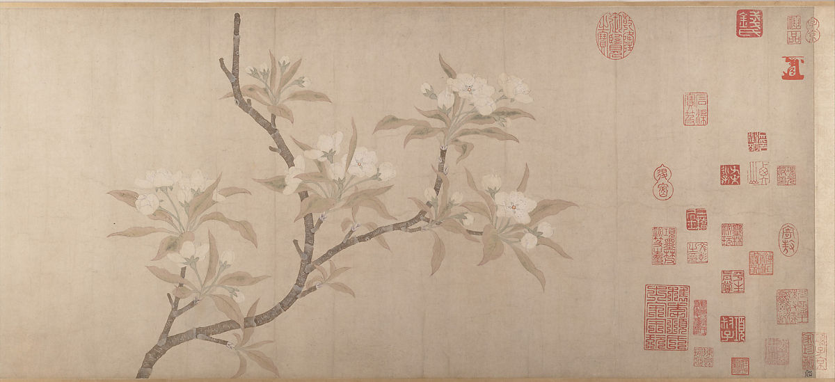 Pear Blossoms, Unidentified, Handscroll; ink and color on paper, China