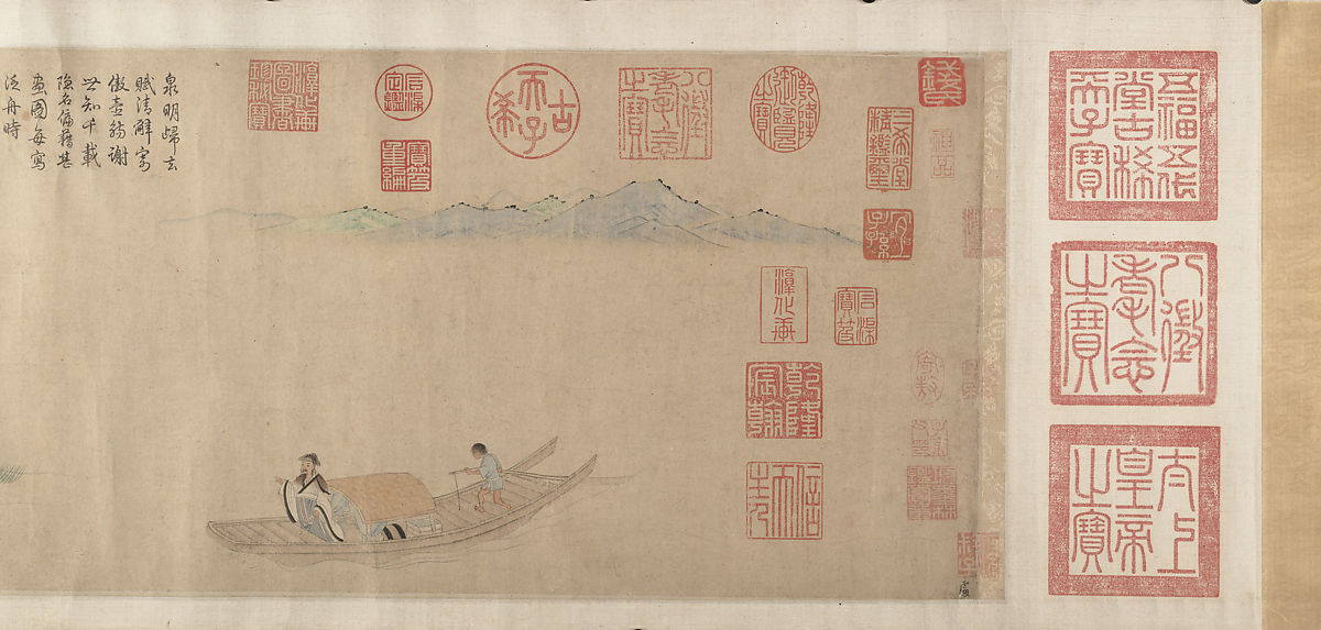 Ode on Returning Home, After Qian Xuan (Chinese, ca. 1235–before 1307), Handscroll; ink, color, and gold on paper, China