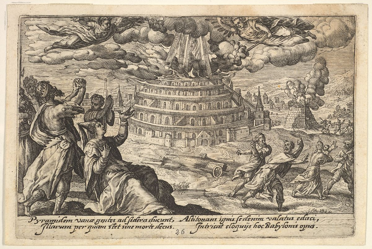 Crispijn de Passe the Elder | Destruction of the Tower of Babel: at right men and women flee from the burning tower, at left men and women raise their hands toward two flying angels, from a series of engravings made for the first edition of the 'Liber Genesis' | The Met