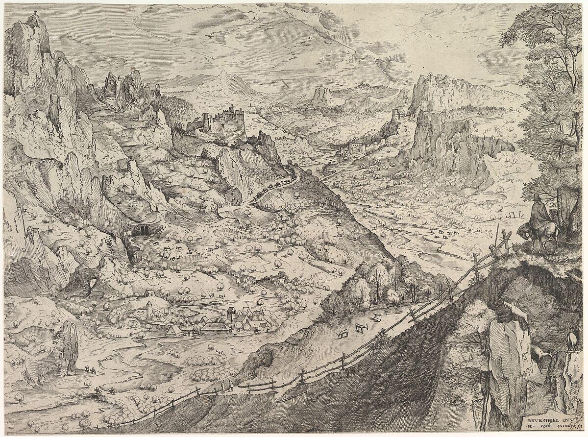 Large Alpine Landscape, Johannes van Doetecum I (Netherlandish, 1528/32–1605), Etching and engraving