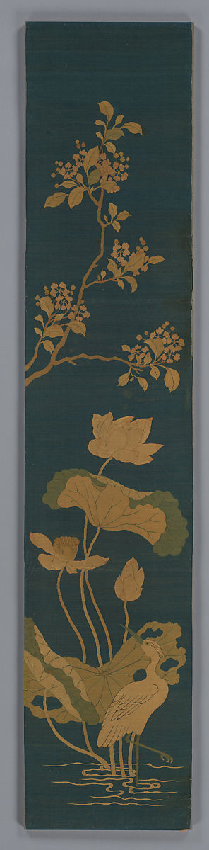 Panel with egret, lotus, and blossoming tree branch, Silk tapestry (kesi), China