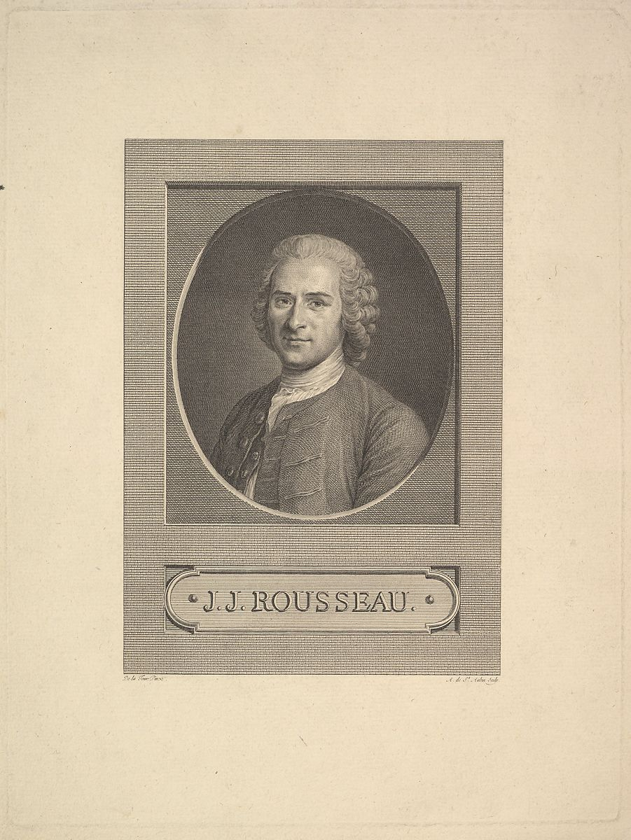 Augustin De Saint Aubin Portrait Of Jean Jacques Rousseau