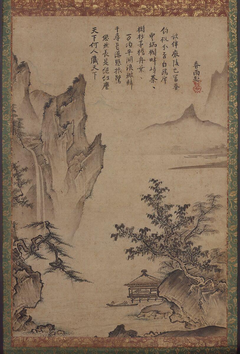 Landscape with Pavilion, Kenkō Shōkei (active ca. 1470–after 1523), Hanging scroll; ink and color on paper, Japan