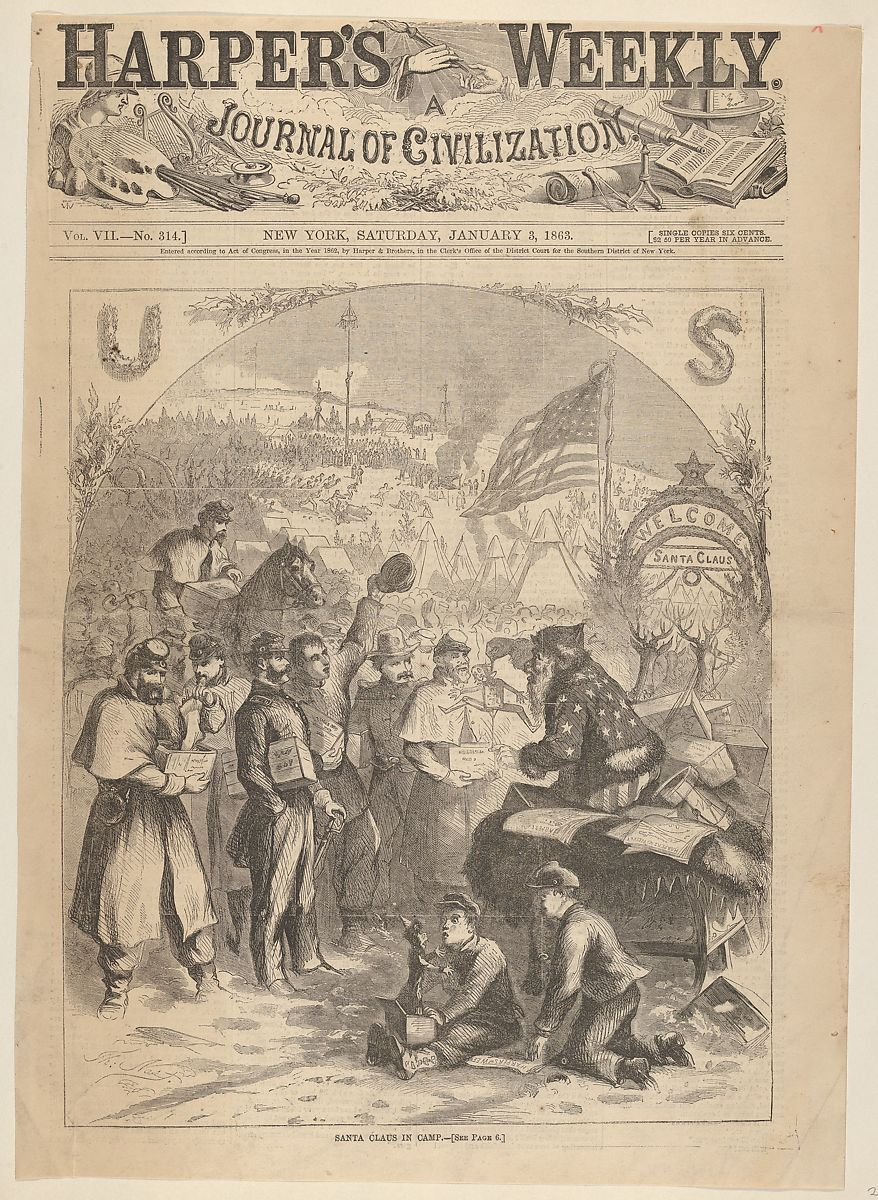 Thomas Nast | Santa Claus in Camp (from Harper's Weekly ...
