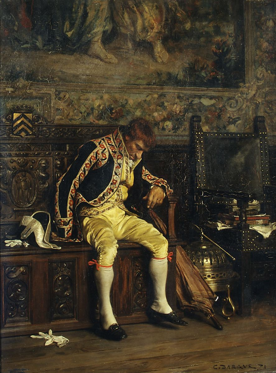 A Footman Sleeping, Charles Bargue (French, Paris 1825/26–1883 Paris), Oil on wood