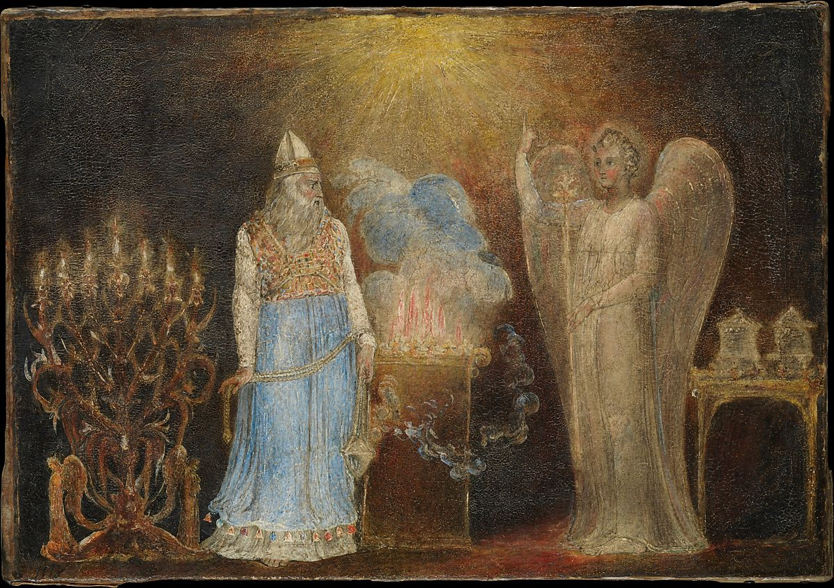 The Angel Appearing to Zacharias, William Blake (British, London 1757–1827 London), Pen and black ink, tempera, and glue size on canvas