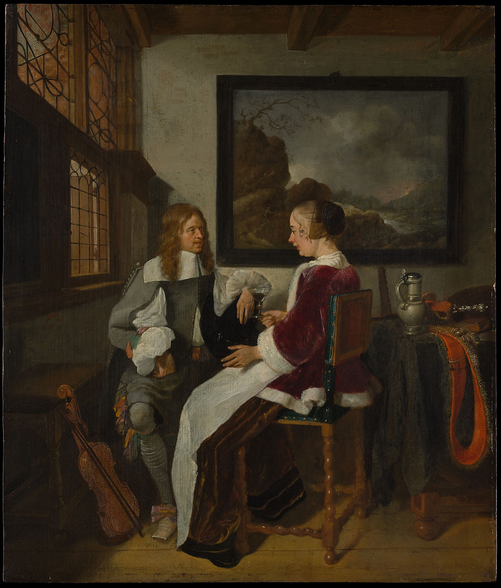 Sentimental Conversation, Quirijn van Brekelenkam (Dutch, Zwammerdam (?), after 1622–ca. 1669 Leiden), Oil on wood