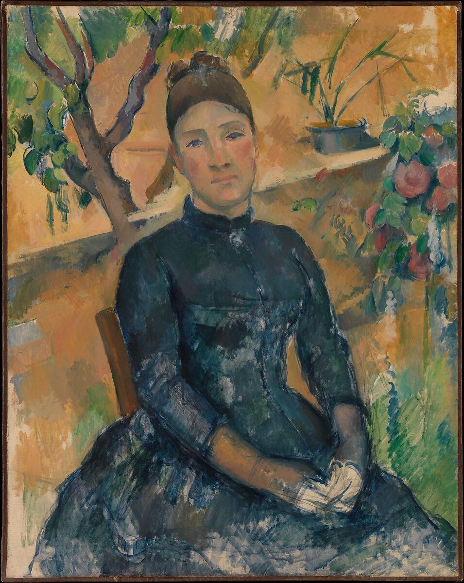 温室のセザンヌ夫人(オルテンスフィケ、1850〜1922年)、ポールセザンヌ(フランス、エックスアンプロヴァンス1839〜1906エックスアンプロヴァンス)、キャンバスに油彩