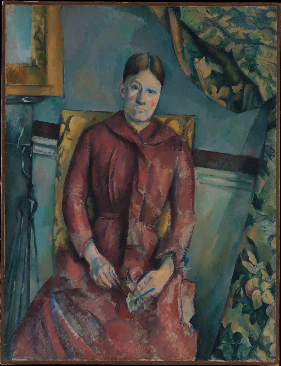 セザンヌ夫人(ホルテンスフィケ、1850〜1922年)、赤いドレスを着て、ポールセザンヌ(フランス、エクスアンプロヴァンス1839〜1906年エクスアンプロヴァンス)、キャンバスに油彩