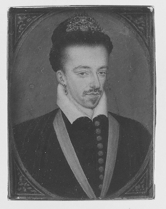 Henry III (1551–1589), King of France, Style of François Clouet (French, 1578 or later), Vellum laid on wood