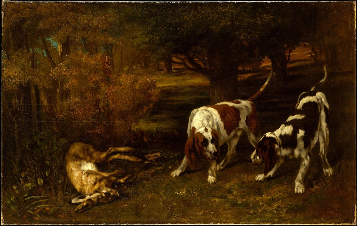 Hunting Dogs with Dead Hare,1857 Gustave Courbet French. Showing 2 hunting dogs, just after they caught a hare. The two dogs are in a position that dogs make just before they leat at something or seem alert. The hair, a big one, is lying life-less next to the two dogs. In the background we see bushes and Trees.