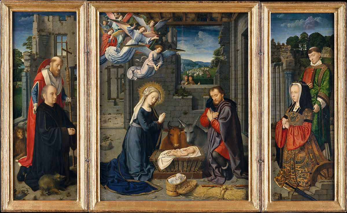 Gerard David | The Nativity with Donors and Saints Jerome and Leonard | The  Metropolitan Museum of Art