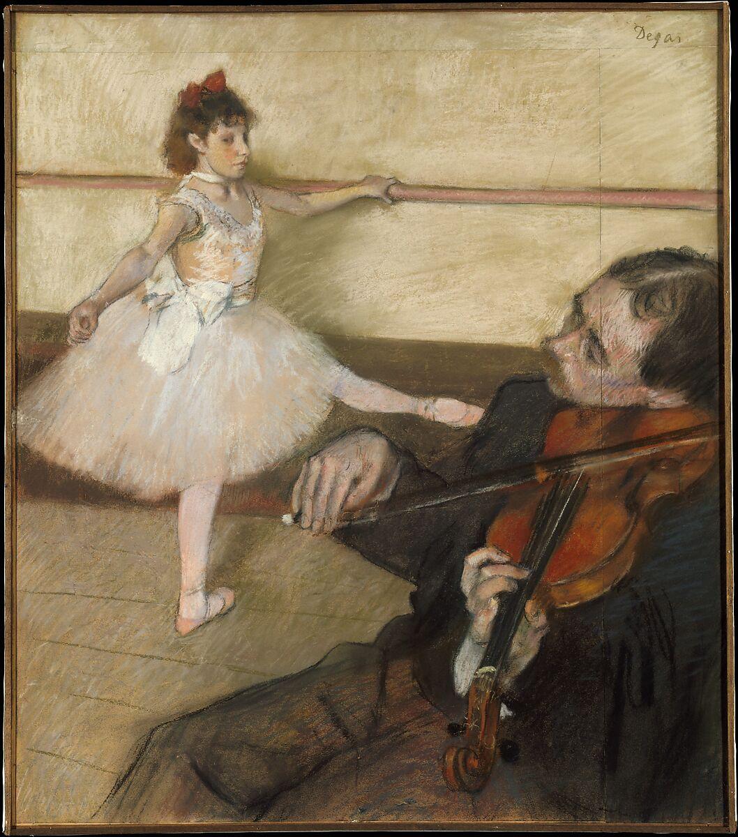 ダンスレッスン、エドガードガ(フランス、パリ1834〜1917パリ)、パステル紙、3枚の織り紙に黒いチョークを合わせたもの