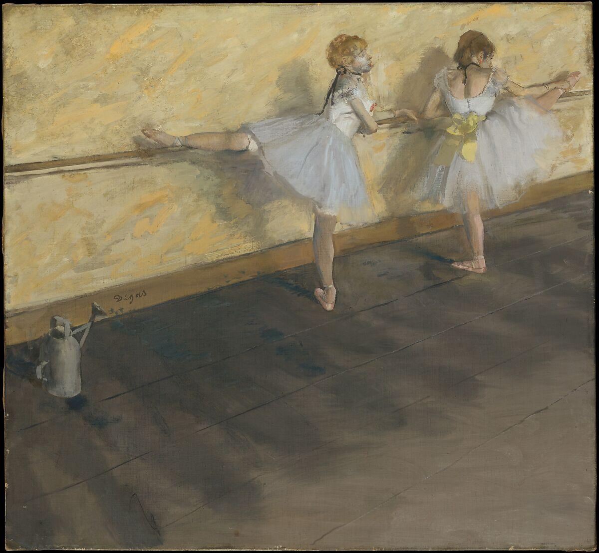 バレで練習するダンサー、エドガードガ(フランス、パリ1834〜1917年パリ)、キャンバス上のミクストメディア